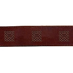 Painted Celtic Sqaures Leather Buckle Collar (2 inch wide)