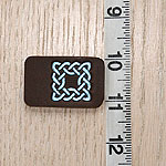 Painted Celtic Squares Leather Buckle Collar (2 inch wide)