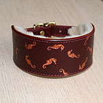 Painted Floating Seahorses Leather Buckle Collar (2 inch wide)