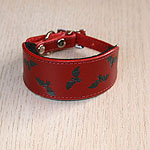 Painted Bats Leather Buckle Collar (small)