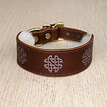 Painted Celtic circles V3 Leather Buckle Collar (1.5 inch wide)