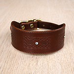Luxury Double Celtic Squares Leather Buckle Collar (2 inch wide)