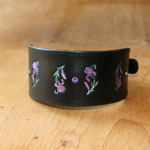 Leather Greyhound collar with Irises