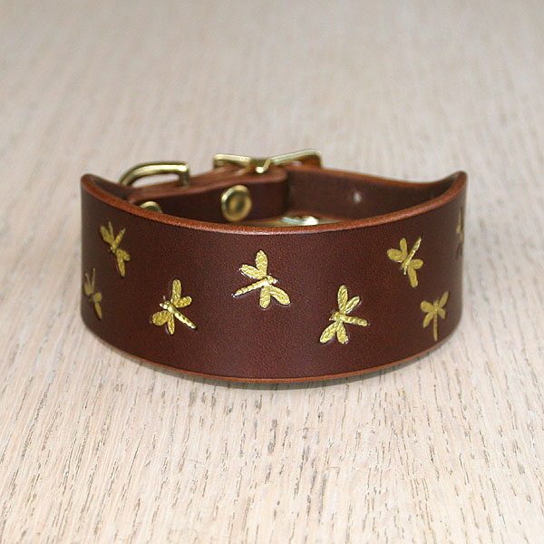 Iridescent Mini Dragonfly Leather Buckle Collar (small)