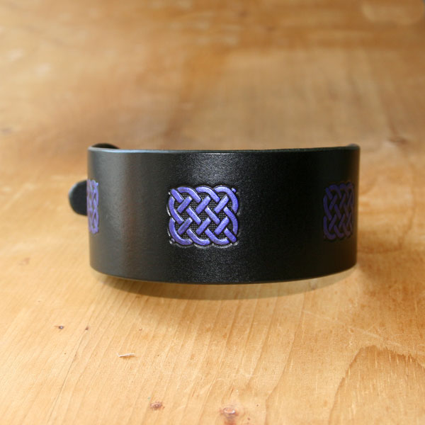 Painted Celtic Rectangles Leather Buckle Collar (2 inch wide)