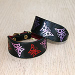 Painted Filigree Butterflies Leather Buckle Collar (small)
