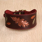 Painted Oak Leaves Leather Buckle Collar (2 inch wide)
