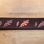 Painted Paired Oak Leaves  Leather Buckle Collar (2 inch wide)