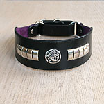 Celtic Metal Leather Martingale Collar (2 inch wide)