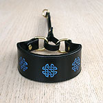 Painted Celtic circles V3 Leather Martingale Collar