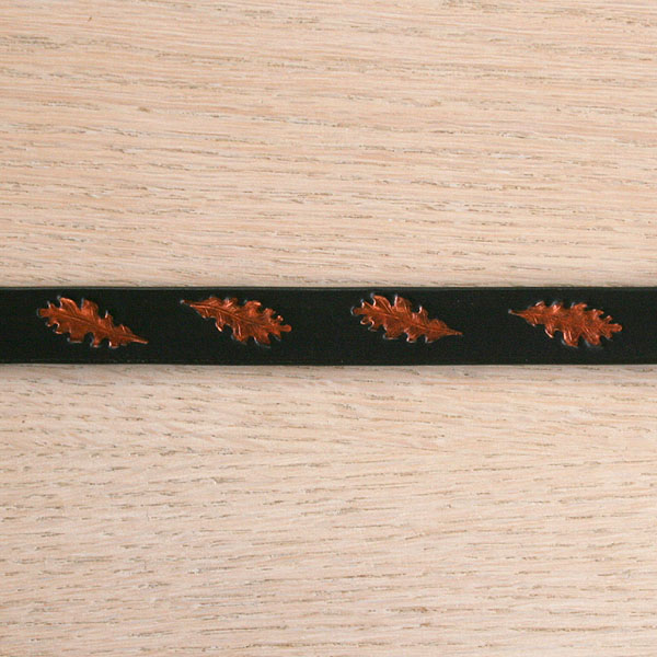 Painted Oak Leaves Leather Straight Collar (¾ inch wide)