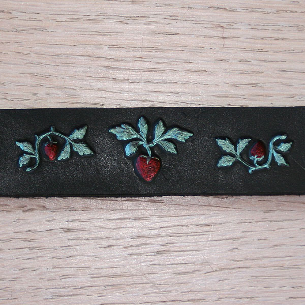 Painted Seahorses Leather Straight Collar (¾ inch wide)