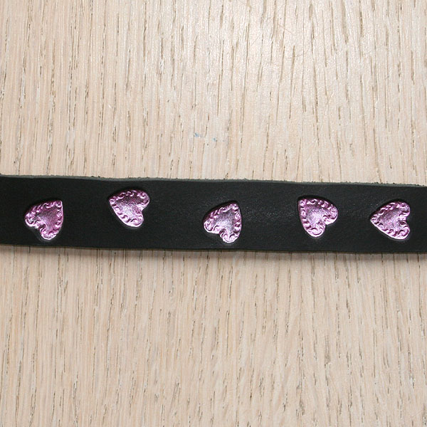 Swirly Hearts Painted Straight Leather Collar (⅝ inch wide)