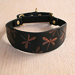 Iridescent Dragonflies Leather Martingale Collar