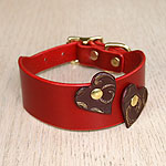 Red leather buckle collar with burgundy hearts